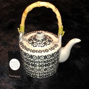 Anthropologie Hand Painted Bamboo Handle Teapot